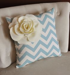 Ivory Corner Rose on Blue and Natural Zigzag Pillow 14 X 14 -Chevron Flower Pillow- Zig Zag Pillows. $33.00, via Etsy.