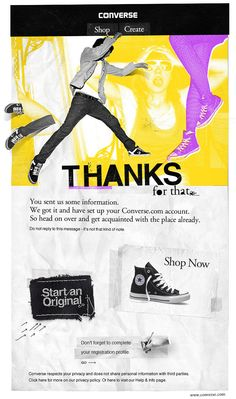 Beautiful example of a welcome email from Converse.