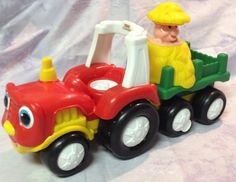 Fisher Price Little People Farm Tractor - Trailer With Hay Stack - Talks & Sings #Mattel