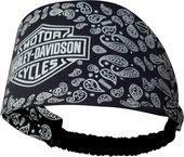 Harley-Davidson® Womens Headband Scrunchie, Paisley Variety, Black Polyester Spandex Paisley Headband Scrunchie
