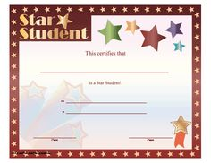 This star student certificate is adorned with several shooting stars and a star border as well. Free to download and print