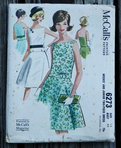 McCall 6273 1960s 60s Two Piece Dress Vintage Sewing Pattern Size 12 Bust 32