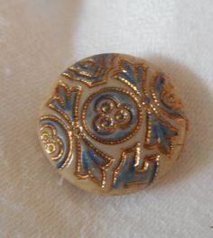 ANTIQUE Victorian Tan Caramel Glass Blue & Gold Tint by abandc