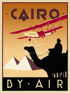 Cairo by Air poster of a Handley Page H.P.42 over the Pyramids