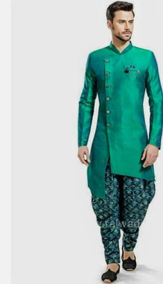 Green Mens Indian Wear, Mens Ethnic Wear, Indian Groom Wear, Indian Men Fashion, Mens Fashion Wear, Groom Fashion, Sherwani Groom, Mens Sherwani, Wedding Sherwani