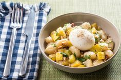 Brown Butter Gnocchi with Summer Squash, Almonds & Soft-Boiled Eggs