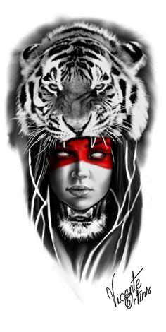 Mais de 100 Desenhos para Tatuagens Realistas | Tatuagens - Ideias Top Tattoos, Body Art Tattoos, Girl Tattoos, Sleeve Tattoos, Neo Tattoo, Tiger Tattoo, Tattoo Sketches, Tattoo Drawings, Tattoo Pierna Hombre