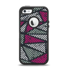 The Abstract Striped Vibrant Trangles Apple iPhone 5-5s Otterbox Defender Case Skin Set