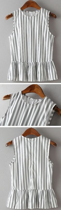 Vertical Striped Sleeveless Peplum Top