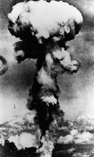 Atomic Bomb  The infamous mushroom cloud, an after effect of an atomic explosion over land… This was the first time the atom bomb was used in warfare. The bomb over Hiroshima more or less put an end to the Second World War. Here, the mushroom cloud as seen over Hiroshima Aug 6, 1945. The image is remembered even today, as a terrifying beauty that the world never wants to see again.