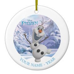 Olaf | Snowflake Background Add Your Name Ceramic Ornament