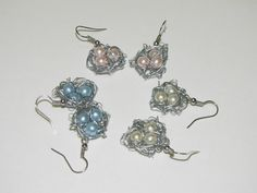 nest of pearls | ... gift - mothers day - Wire wrapped glass pearl three egg birds nest