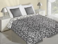 Čierno biely obojstranný prehoz so vzormi Hotel Bed, Bed Sets, Bedding Sets, Comforters, Ornament, Blanket, Luxury, Furniture, Design