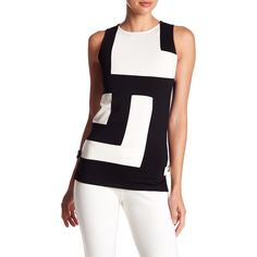 Julie Brown Colorblock Little Shift Tank ($40) ❤ liked on Polyvore featuring tops, sleeveless tank, colorblock top, crew neck tank top, tie top and white tank tops