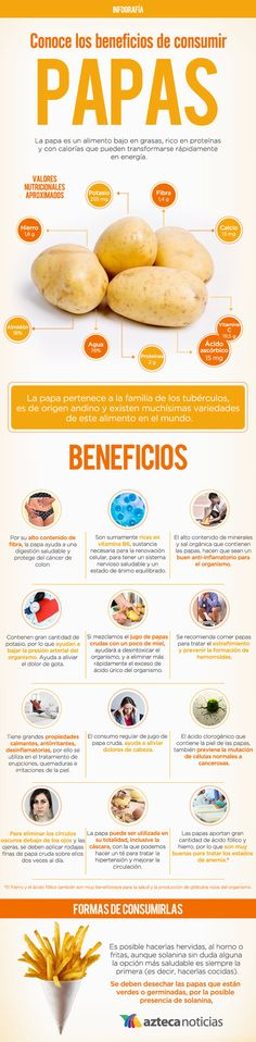Conoce los beneficios de consumir papas #infografia