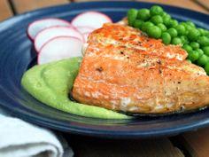 Alaskan Salmon with Avocado-Pea Cream and Radishes