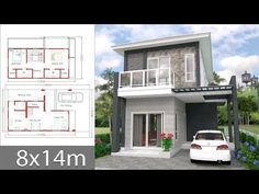 House design plans with 3 bedrooms.House description:Ground Level: Two car parking, Living room, Dining room, Kitchen, reservation Small Modern House Plans, 3d House Plans, 2 Bedroom House Plans, House Layout Plans, House Layouts, Duplex House Design, Simple House Design, Modern House Design, Photo 3d