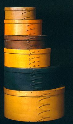 Shaker Oval Band Boxes. Bent & Painted Wood. Circa Mid-19th Century.