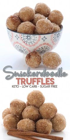 Easy sweet treats with zero guilt! Snickerdoodle Cookie Truffles that are grain free and sugar free. Totally snackable stuff here. That real snickerdoodle cinnamon goodness in every bite. #snickerdoodles #ketodiet #ketorecipes #truffles #easyketo #cookiessnickerdoodle