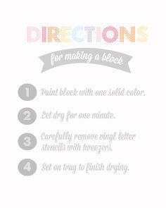 Directions for baby blocks at a Baby Shower #babyshower #party
