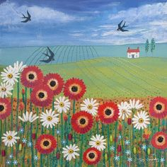 12 x 12 inch canvas print of English Landscape with poppies and daisies from an original mixed media painting 'Summertime' by Jo Grundy Landscape Quilts, Landscape Paintings, Verge, Naive Art, Mixed Media Painting, Whimsical Art, Painting Inspiration, Flower Art, Folk Art