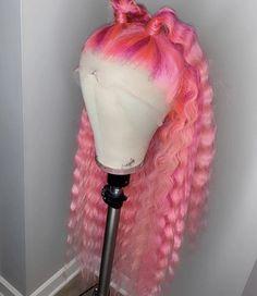 Lace Frontal Wigs Pink Hair Bleaching Pink Hair For Women – wigbaba Pink Wig, Hair Color Pink, Magenta Hair, Pastel Hair, Fringe Hairstyles, Pretty Hairstyles, Colored Weave Hairstyles, Hairstyle Ideas, Wig Styles