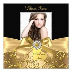 "Elegant Gold Bow & Floral Swirl Photo Quinceanera 5.25"" Square Invitation Card"