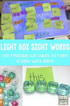 Today I'm showing you how to make light table sight words! This is an easy to prep/make and easy to differentiate sight word activity that you can use with or without a light box or light ta… Teaching Sight Words, Sight Word Practice, Sight Word Games, Sight Word Activities, Kindergarten Smorgasboard, Kindergarten Classroom, Classroom Ideas, Kindergarten Activities, Toddler Activities