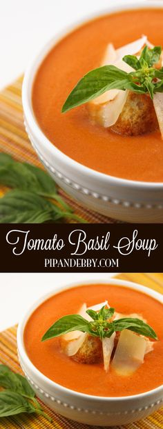Tomato Basil Soup | Super comforting and delicious meatless soup. Add this recipe to your dinner rotation! #tomatobasil