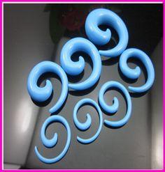 Ear piercing trang sức màu xanh acrylic Spiral ốc taper tunnel ear Expander body jewelry ear ổ cắm flesh tunnels pircing vách ngăn 2 p