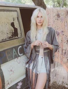 Aline Weber wears Dramatic Sleeve Suede Kimono, Logan High Rise Cut Off for lookbook 2016
