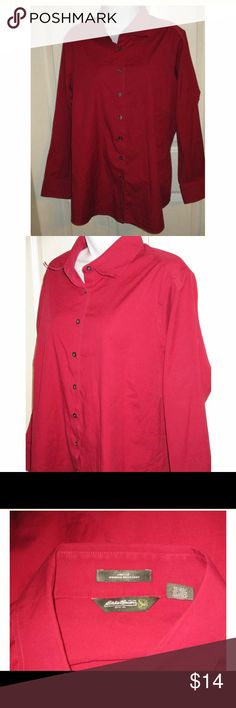 Eddie Bauer Wrinkle Resistant Blouse SZ 2X Awesome Stretch Blouse SZ 2X.. Bust 56 inches and length is 30 inches.. 97% Cotton and 3% Lastol. Eddie Bauer Tops Button Down Shirts