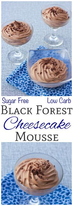 This low carb no bake black forest cheesecake mousse is perfect for summer. Top with shaved chocolate or a fresh cherry. Can be made into a sugar free pie.