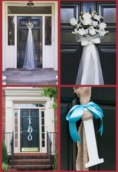 Decorate your front door in the colors and flowers the bride has chosen for the wedding.  Photo credit darlingstuff.info and masonjarmoments.wordpress.com