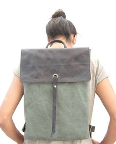 15 Leather and Canvas Laptop Backpack Canvas by RuthKraus on Etsy