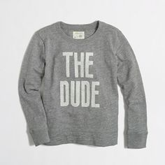 """J.Crew """"The Dude"""" graphic sweatshirt... too perfect for Little Dude."""