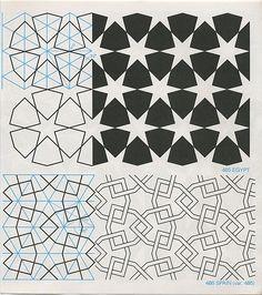 Das Sternmuster lässt sich auch patchworken (Aus: Geometric Patterns & Borders, David Wade, 1982)