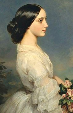 1860 ~ Portrait of Carmen Aguado, Duchesse de Montmorency.... Oil on Canvas by Franz Xaver Winterhalter (1805-1873), German Painter & Lithographer, known for his Portraits of Royalty ....