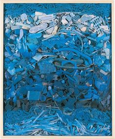 """""""blue plastic panel""""- john Dahlsen Contemporary environmental art wall work, made from found plastic objects, assembled behind perspex. Abstract recycled art created from plastics collected from Australian beaches."""