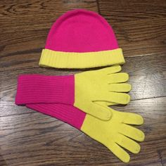 End of season sale! J. Crew hat & glove set EUC Pink and bright yellow two tone hat and glove set. OS. Wool/cashmere blend. Worn once! EUC!! Make an offer :) J. Crew Accessories