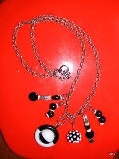 Buttons and Beads in Black and White Necklace by RustIsVogue, $35.00