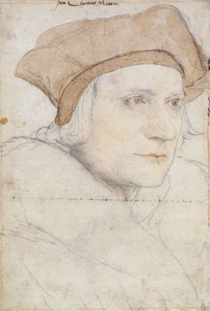 A portrait drawing of Sir Thomas More The portrait shows his head and shoulders facing three-quarters to the right. He wears a hat and fur collar. Inscribed in an eighteenth-century hand at upper centre: Sier Thomas Mooer. Tudor History, British History, Asian History, Guy Drawing, Painting & Drawing, Daily Drawing, Hans Holbein Le Jeune, Hans Holbein The Younger, Renaissance Era