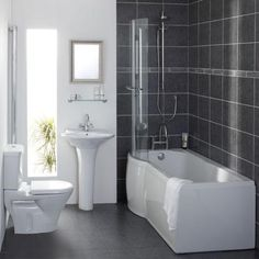 Shower And Tub Ideas for a Small Bathroom. Shower Tub Ideas Tub Shower Bathroom Designs Best Bathroom Tub Shower Ideas On Shower Tub Tub Shower Combo And Bathtub Shower Combo… Small Corner Bath, Small Narrow Bathroom, Small Bathroom With Tub, Modern Small Bathrooms, Modern Bathroom Tile, Small Bathtub, Mini Bathtub, Corner Tub, Master Bathrooms