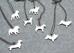 Silver Custom Puppy Silhouette Necklace Etsy Shop: mooshygooshies $52.00