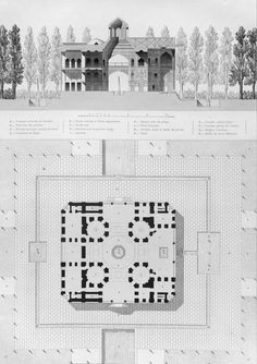 Hasht Behesht - groundplan and section by Pascal Coste