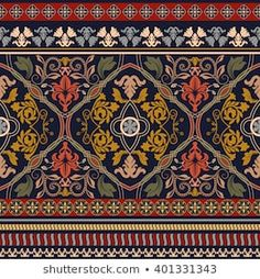 Paisley seamless pattern Ornamental border vector image on VectorStock Ethnic Patterns, Line Patterns, Textile Patterns, Vintage Patterns, Digital Print Textiles, Textile Prints, Digital Prints, Thai Pattern, Pattern Art
