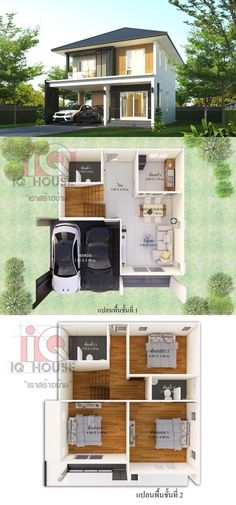 Simple and affordable three-bedroom double storey house design