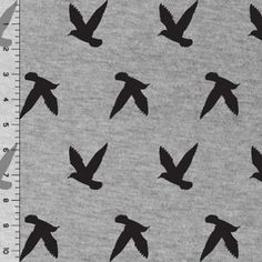 Bird Silhouettes on Heather Gray Cotton Jersey Blend Knit Fabric