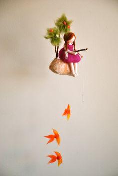 Girls Mobile Waldorf inspired needle felted doll : The fishing girl Waldorf Crafts, Waldorf Dolls, Felt Crafts, Diy And Crafts, Arts And Crafts, Diy Laine, Needle Felting Tutorials, Felt Fairy, Fairy Dolls