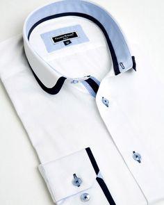 Franck Michel® Shirts - Designer French Shirts from Paris Collar Designs, Shirt Designs, Gents Kurta, Mens Kurta Designs, Formal Shirts For Men, Mens Designer Shirts, African Shirts, Tailored Shirts, Men Design